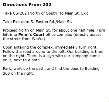 Directions From 202