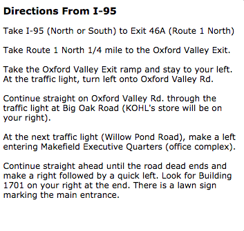 Directions from I-95